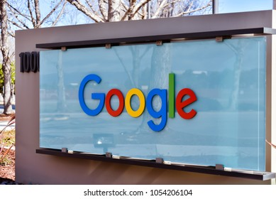 Sunnyvale, CA/USA - Mar. 25, 2018: Sign marks entrance to campus of Google Building 1000 in Sunnyvale, CA.
