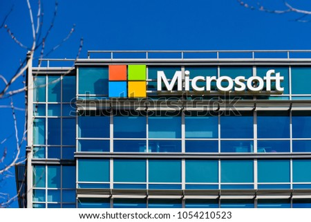 Sunnyvale, CA/USA - Mar. 25, 2018: Microsoft building in Sunnyvale, CA. It is one of the software giants' facilities in the high technology Silicon Valley of California.