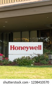 SUNNYVALE, CA/USA - OCTOBER 20, 2018: Honeywell exterior sign and trademark logo.