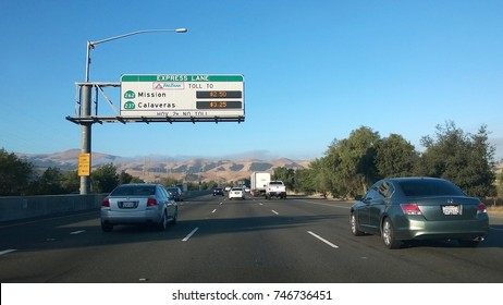 SUNOL, CA - JULY 01, 2014: FasTrak Lanes help manage lane capacity in the San Francisco Bay Area by allowing single occupancy vehicles to purchase a spot in the HOV lane. Prices vary based on capacity