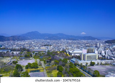 Sunpu Castle Park in Shizuoka City and Mt. Fuji