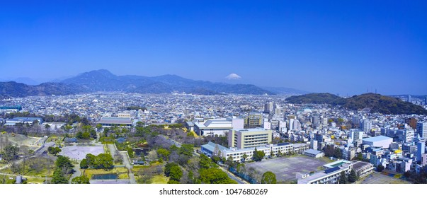 Sunpu Castle Park in Shizuoka City and Mt. Fuji (Panorama)