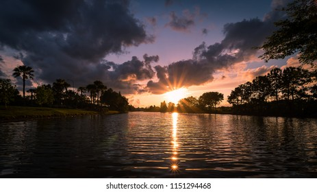 Sunrays reflecting in the water in Brandon Florida