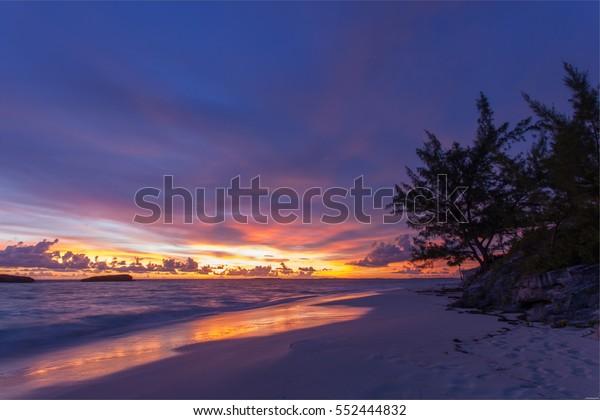 Sunrise at 3 sisters rock, Exuma Island, Bahamas