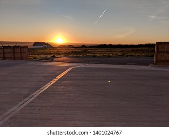 Sunrise at an abandoned parking lot