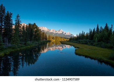 Sunrise above Canmore's mountains, Alberta, Canada, Summertime, scenery of Canmore town
