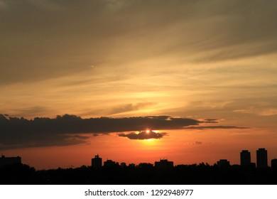 Sunrise above the city