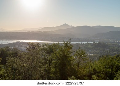Sunrise above Irun. Beginning of Camino Norte in Basque Country.