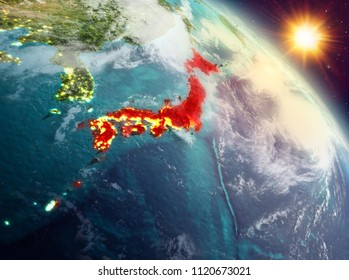 Sunrise above Japan highlighted in red on model of planet Earth in space. 3D illustration. Elements of this image furnished by NASA.