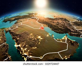 Sunrise above Kuwait highlighted in red on model of planet Earth in space with visible country borders. 3D illustration. Elements of this image furnished by NASA.