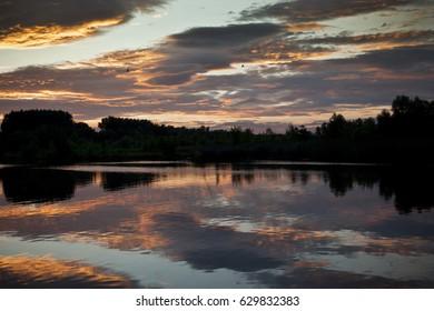 Sunrise above the lake