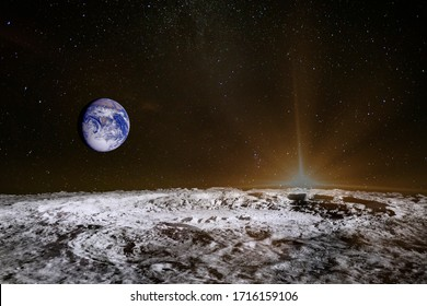 Sunrise above the moon surface. Blue Earth in the space. Elements of this image furnished by NASA.