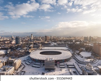 Sunrise above the Olympic Stadium in Kiev. Aerial view at winter day.