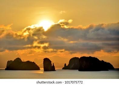 Sunrise above the Phang Nga Bay, seen from Koh Yao Noi, Andaman Sea, Thailand