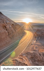 Sunrise above the road leading to San Pedro de Atacama in Chile one of the driest places on earth and magnificent landscapes in high altitude