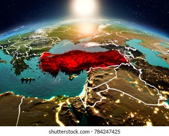 Sunrise above Turkey highlighted in red on model of planet Earth in space with visible country borders. 3D illustration. Elements of this image furnished by NASA.