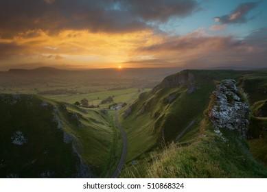 Sunrise above Winnat's Pass, near Castleton, English Peak District