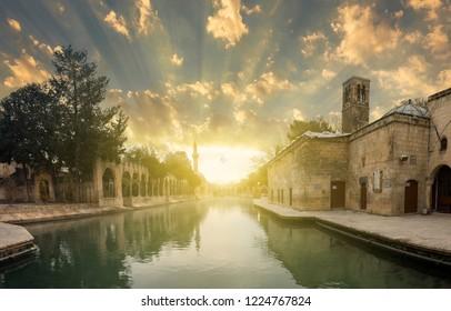 Sunrise at  Abraham's Pool ( Turkish; Balikli Göl ) , Urfa, Turkey