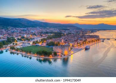 Sunrise aerial view of Croatian town Trogir