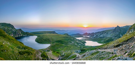 Sunrise aerial view of seven rila lakes in Bulgaria