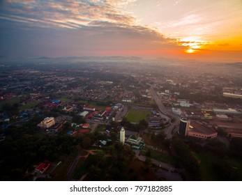Sunrise aerial view in Sungai Petani, Kedah State, Malaysia