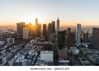 Sunrise aerial view of towers, streets and buildings in downtown Los Angeles California.