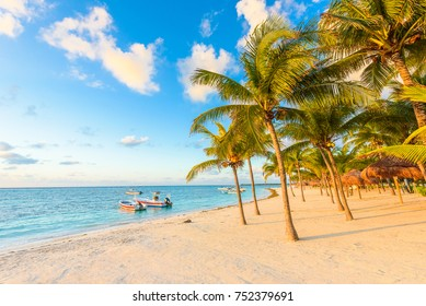 Sunrise at Akumal beach, paradise bay at Riviera Maya, caribbean coast of Mexico