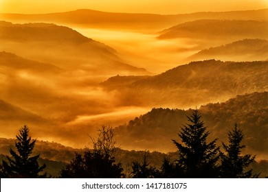 Sunrise along the Highland Scenic Highway, a National Scenic Byway, Pocahontas County, West Virginia, USA