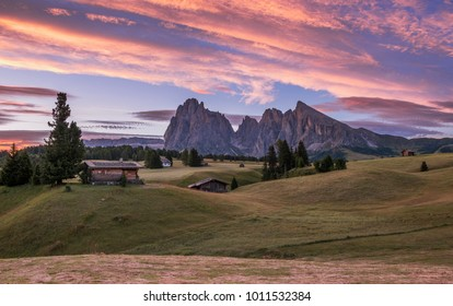 Sunrise at Alpe di Siusi in the Dolomites
