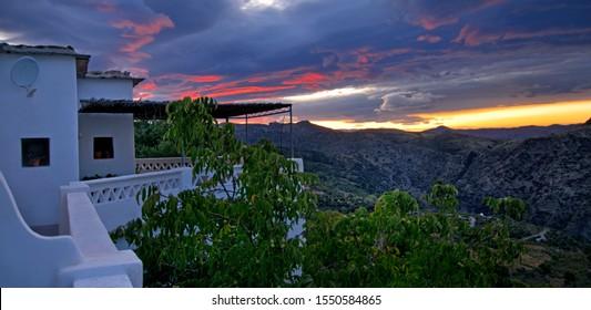 Sunrise in Alpujarra in Andalucía. Spain.