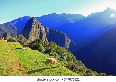 Sunrise in ancient Inca city Machu Picchu, Peru,South America