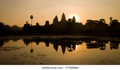 Sunrise at Angkor Wat in Siem Reap, Cambodia. One of the great ancient temples in the world