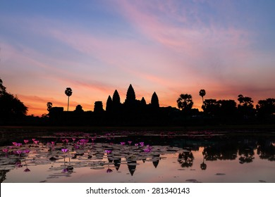 Sunrise in Angkor Wat, a temple complex in Cambodia and the largest religious monument in the world. UNESCO World Heritage Site.