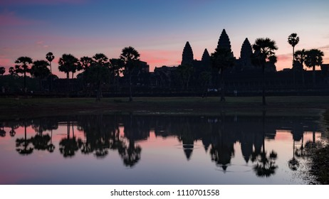 Sunrise at Angkor Wat temple in Siem Reap, Cambodia.