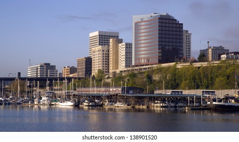 Sunrise appears as the light hits the Tacoma Washington waterfront in the Northwest United States