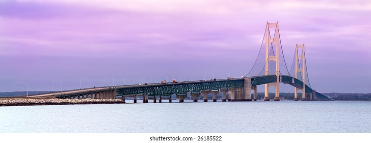 Sunrise Ar The Mackinaw Bridge, Connecting Michigan's Upper And Lower Peninsulas