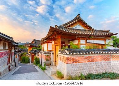 Sunrise and autumn at Bukchon Hanok Village best landmark in Seoul, South Korea.