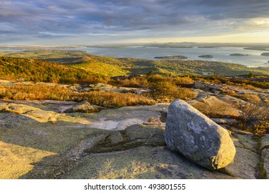 Sunrise in Autumn from Cadillac Mountain - Maine