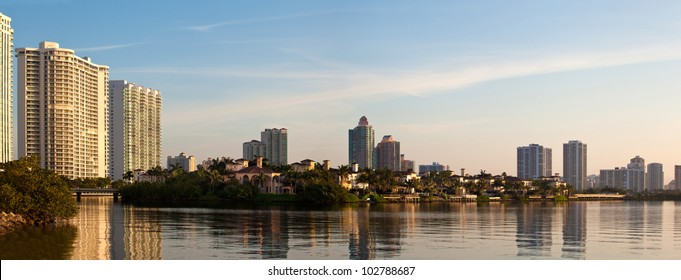 Sunrise in Aventura Florida by the intracoastal waterway
