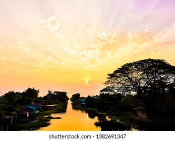 Sunrise at Baan Saladin, Nakhon Pathom, Thailand.