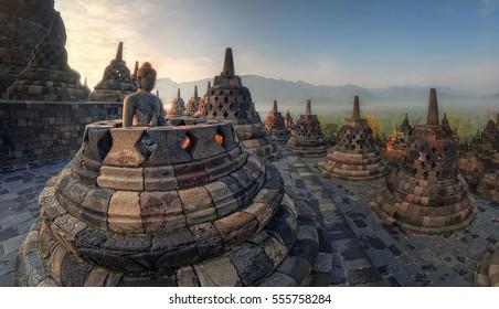 Sunrise background at Borobudur Temple