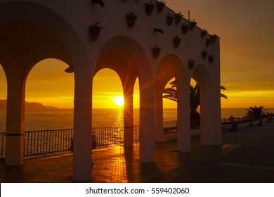 Sunrise at Balcony of Europe in Nerja Spain