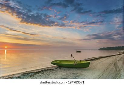 Sunrise at the Baltic Sea near Jurmala - famous resort city in Latvia, Europe