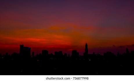 Sunrise at Bangkok Cityscape