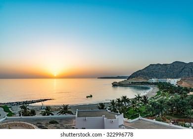 Sunrise at Barr Al Jissah in east of Muscat, Oman.