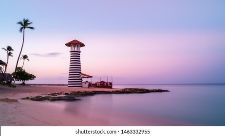 Sunrise at Bayahibe beach with smooth water, La Romana, Dominican republic
