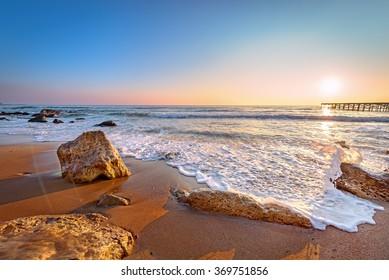Sunrise and beach.