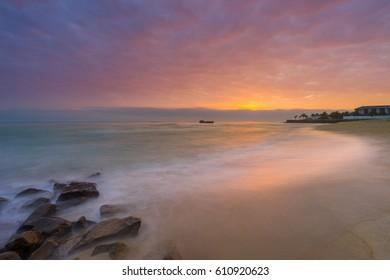 Sunrise at the beach in Hoi An Vietnam