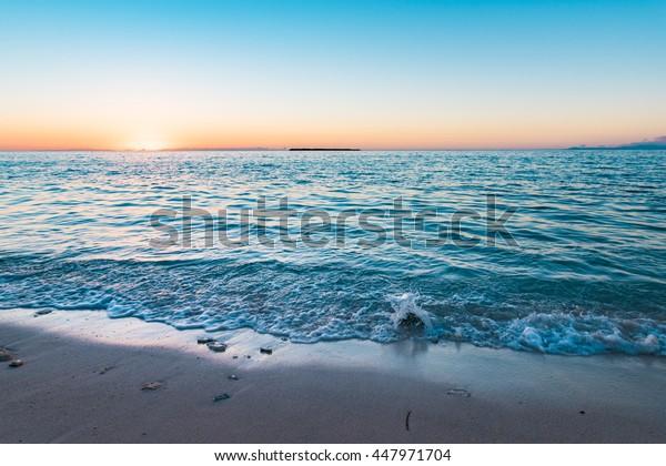 Sunrise, beach, landscape. Okinawa, Japan, Asia.