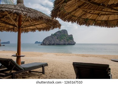 Sunrise beach resort on Cat Ba island.  Situated on Catba Island in Ha Long Bay and nestled in a sandy cove protected by ancient karst cliffs.